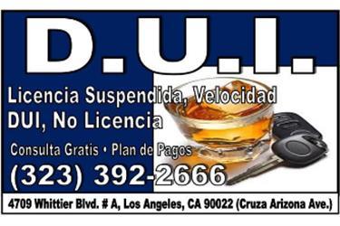 •►¿RECORDS DE D.U.I.? en Los Angeles