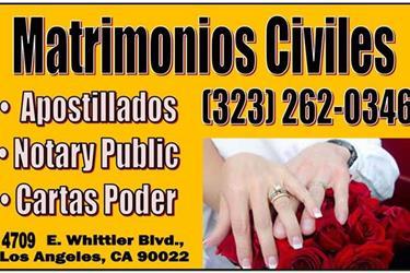 * MATRIMONIO CIVIL 7 DIAS * en Los Angeles