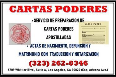 * CARTAS PODER *APOSTILLADOS * en Los Angeles County