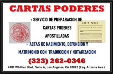 *CARTAS PODERES**APOSTILLADAS* en Los Angeles County