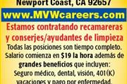 SOLICITO HOUSEKEEPERS AIDES en Orange County