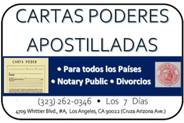 CARTAS PODER►APOSTILLADAS► en Los Angeles County