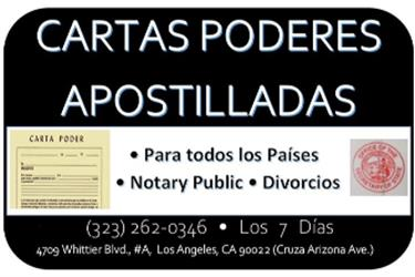 DOCUMENTOS APOSTILLADOS en Los Angeles County