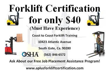 Forklift Jobs en Orange County