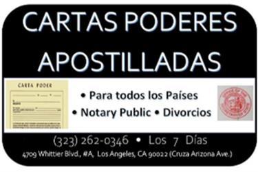 ►CARTAS PODERES►APOSTILLADAS en Los Angeles County